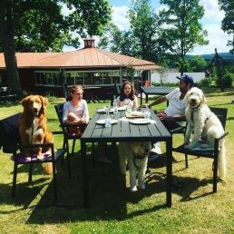 Vill, Fanny, Norah, Ashkan och Charlie vid bordet och lilla Saga under bordet =)