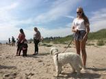 Saga fick egen personlig skötare som eskorterade henne ner till stranden =) Tack för hjälpen!
