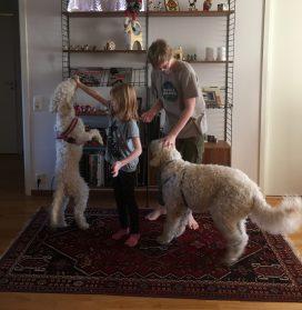 Linnea tränar Saga och Jakob tränar Charlie.