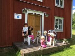 """Barn och hundar utanför vår """"stuga"""""""