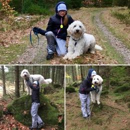 Linnea och Charlie i skogen