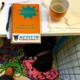 Jag läser till hundinstruktör på Attityd Hundkunskap. Ellen har somnat under bänken.